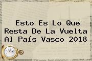 Esto Es Lo Que Resta De La <b>Vuelta Al País Vasco 2018</b>