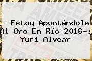 ?Estoy Apuntándole Al Oro En Río 2016?: <b>Yuri Alvear</b>