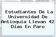 Estudiantes De La <b>Universidad De Antioquia</b> Llevan 42 Días En Paro
