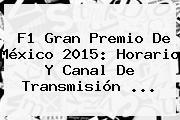 <b>F1</b> Gran Premio De <b>México</b> 2015: Horario Y Canal De Transmisión <b>...</b>