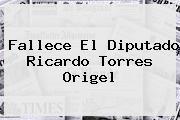 Fallece El Diputado <b>Ricardo Torres Origel</b>