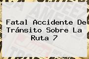 Fatal Accidente De Tránsito Sobre La Ruta 7