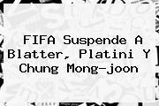 <b>FIFA</b> Suspende A Blatter, Platini Y Chung Mong-joon