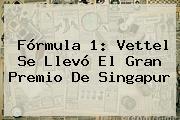 <b>Fórmula 1</b>: Vettel Se Llevó El Gran Premio De Singapur