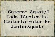 Gamero: &quot;A Todo Técnico Le Gustaría Estar En <b>Junior</b>&quot;