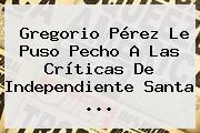 Gregorio Pérez Le Puso Pecho A Las Críticas De Independiente <b>Santa</b> ...