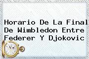 Horario De La Final De Wimbledon Entre <b>Federer</b> Y Djokovic