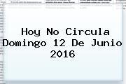 <b>Hoy No Circula</b> Domingo <b>12 De Junio 2016</b>
