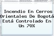 <b>Incendio</b> En Cerros Orientales De <b>Bogotá</b> Está Controlado En Un 70%