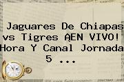 <b>Jaguares</b> De Chiapas <b>vs Tigres</b> ¡EN VIVO! Hora Y Canal Jornada 5 <b>...</b>