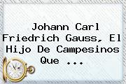 <b>Johann Carl Friedrich Gauss</b>, El Hijo De Campesinos Que ...