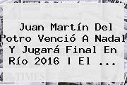 Juan Martín Del Potro Venció A <b>Nadal</b> Y Jugará Final En Río 2016 | El ...