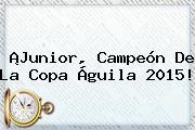 ¡Junior, Campeón De La <b>Copa Águila</b> 2015!