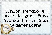 <b>Junior</b> Perdió 4-0 Ante <b>Melgar</b>, Pero Avanzó En La Copa Sudamericana
