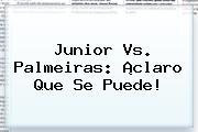 <b>Junior Vs Palmeiras</b>: ¡Claro Que Se Puede!