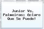 <b>Junior Vs</b>. <b>Palmeiras</b>: ¡claro Que Se Puede!