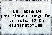 La Tabla De <b>posiciones</b> Luego De La Fecha 12 De <b>eliminatorias</b>