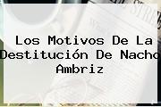 Los Motivos De La Destitución De <b>Nacho Ambriz</b>