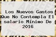 Los Nuevos Gastos Que No Contempla El <b>salario Mínimo</b> De <b>2016</b>