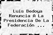 <b>Luis Bedoya</b> Renuncia A La Presidencia De La Federación <b>...</b>