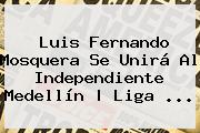 Luis Fernando Mosquera Se Unirá Al Independiente Medellín   <b>Liga</b> <b>...</b>