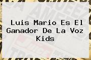 Luis Mario Es El Ganador De <b>La Voz Kids</b>