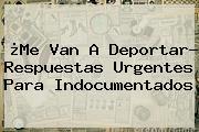 ¿Me Van A Deportar? Respuestas Urgentes Para Indocumentados