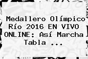 <b>Medallero Olímpico</b> Río <b>2016</b> EN VIVO ONLINE: Así Marcha Tabla ...