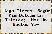 <b>Mega</b> Cierra, Según Kim Dotcom En Twitter: ?Haz Un Backup Ya?