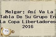 Melgar: Así Va La Tabla De Su Grupo En La <b>Copa Libertadores 2016</b>