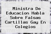 Ministra De <b>Educacion</b> Habla Sobre Falsas Cartillas Gay En Colegios