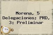 <b>Morena</b>, 5 Delegaciones; PRD, 3: Preliminar