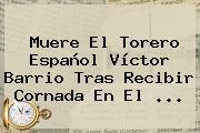 Muere El Torero Español <b>Víctor Barrio</b> Tras Recibir Cornada En El ...