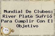 Mundial De Clubes: <b>River Plate</b> Sufrió Para Cumplir Con El Objetivo