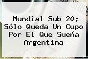 <b>Mundial Sub 20</b>: Sólo Queda Un Cupo Por El Que Sueña Argentina
