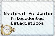 <b>Nacional</b> Vs Junior Antecedentes Estadisticos