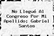 No Llegué Al Congreso Por Mi Apellido: Gabriel Santos