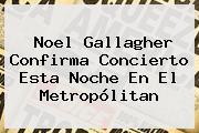 <b>Noel Gallagher</b> Confirma Concierto Esta Noche En El Metropólitan