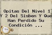 Opitas Del Nivel 1 Y 2 Del <b>Sisben</b> Y Que Han Perdido Su Condición ...