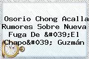 Osorio Chong Acalla Rumores Sobre Nueva Fuga De &#039;El <b>Chapo</b>&#039; <b>Guzmán</b>