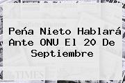 <b>Peña Nieto</b> Hablará Ante ONU El 20 De Septiembre