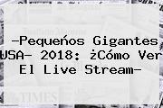 ?<b>Pequeños Gigantes</b> USA? 2018: ¿Cómo Ver El Live Stream?