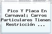 <b>Pico Y Placa</b> En Carnaval: Carros Particulares Tienen Restricción ...