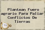 Plantean Fuero <b>agrario</b> Para Paliar Conflictos De Tierras