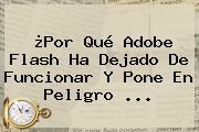 ¿Por Qué <b>Adobe Flash</b> Ha Dejado De Funcionar Y Pone En Peligro <b>...</b>