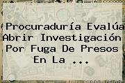 <b>Procuraduría</b> Evalúa Abrir Investigación Por Fuga De Presos En La ...
