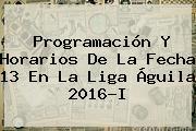 Programación Y Horarios De La Fecha 13 En La <b>Liga Águila</b> 2016-I