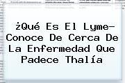 ¿Qué Es El <b>Lyme</b>? Conoce De Cerca De La Enfermedad Que Padece Thalía