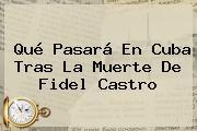 Qué Pasará En Cuba Tras La Muerte De <b>Fidel Castro</b>