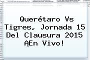 <b>Querétaro Vs Tigres</b>, Jornada 15 Del <b>Clausura 2015</b> ¡En Vivo!